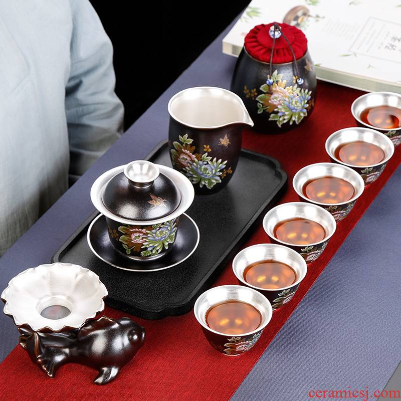 Tasted silver gilding kung fu tea set suit household ceramic cups visitor office tea silver Chinese style restoring ancient ways of gift boxes