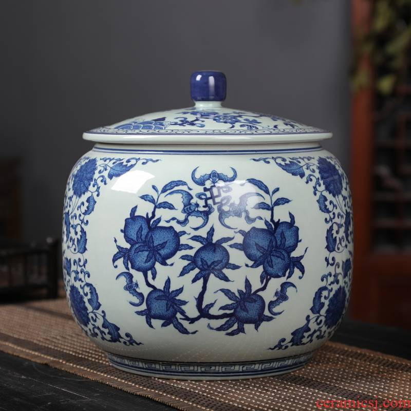 Classic blue and white porcelain jar jingdezhen ceramics caddy fixings archaize furnishing articles large POTS of tea tea box of gm