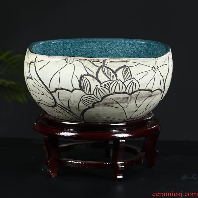 Package mail jingdezhen ceramic aquarium refers to basin of lotus brocade carp fish farming water lily little tortoise square household type