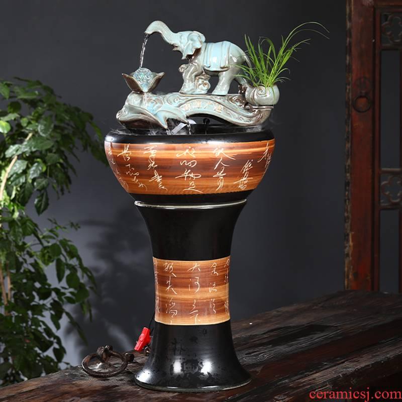 Jingdezhen ceramic tank floor pillar type tank yard LianHe flowerpot is suing large goldfish bowl water lily bowl