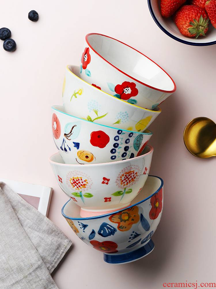 Creative household ceramics high always prevent hot hat to small rainbow such as bowl bowl hand - made rice bowls thickening single Japanese dishes