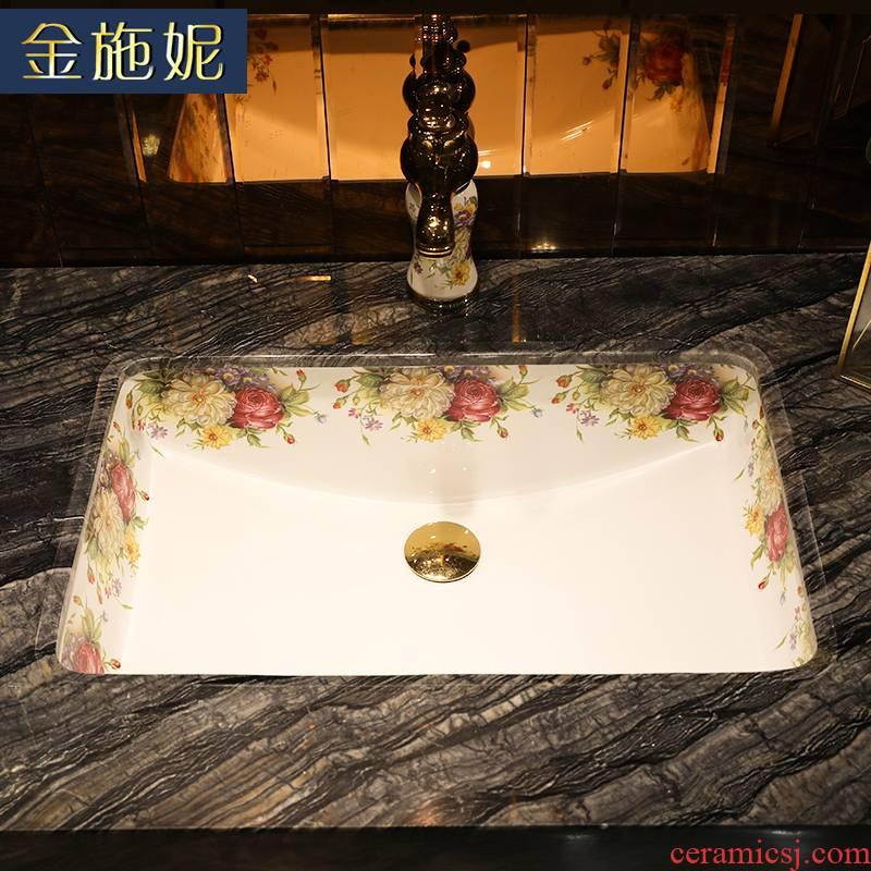 European contracted embedded undercounter basin ceramic household basin bathroom sink rectangular hotel