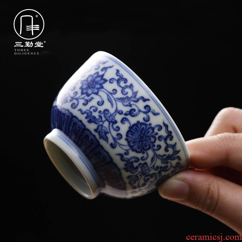 Three frequently hall of blue and white porcelain cups master cup single CPU jingdezhen ceramic kung fu tea pu - erh tea sample tea cup S43033