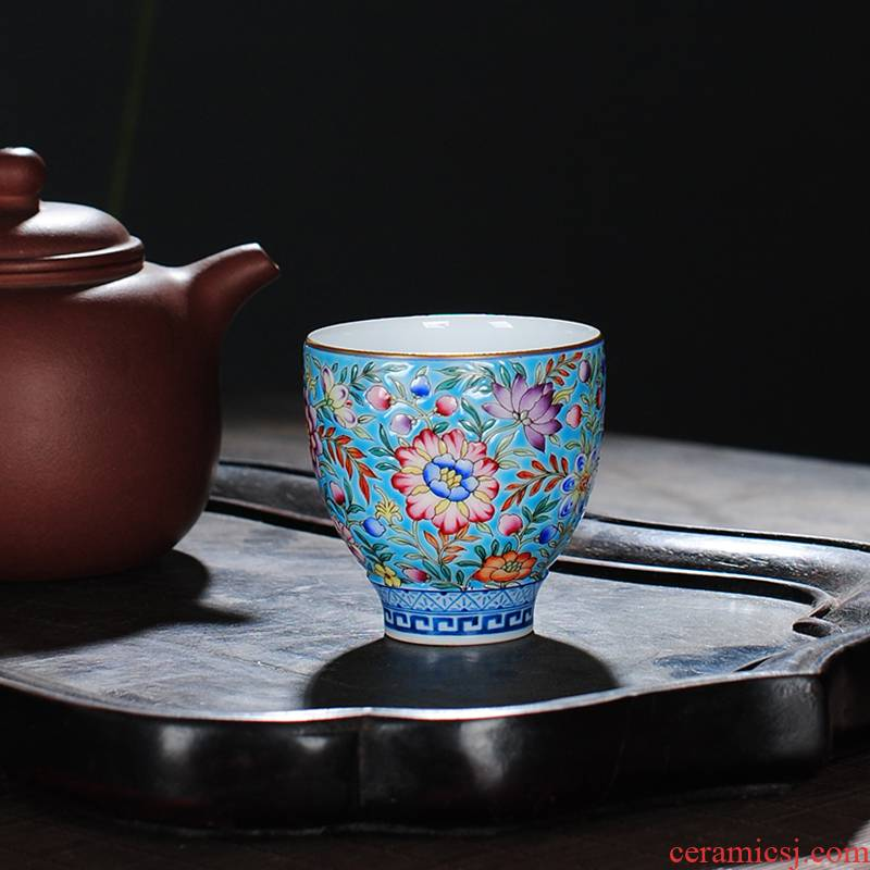 The Owl up jingdezhen tea colored enamel malachite green flower master CPU kunfu tea sample tea cup hand - made ceramic cup
