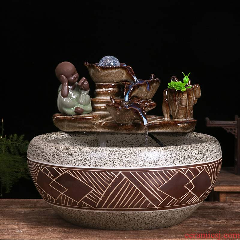 Ceramic cylinder tortoise sitting room balcony office desktop home furnishing articles circulating water goldfish bowl bowl of water lily fish tank