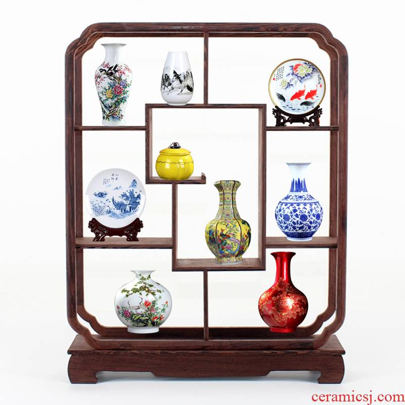 Rich ancient frame small place wine sitting room adornment TV cabinet office table of jingdezhen ceramics vase