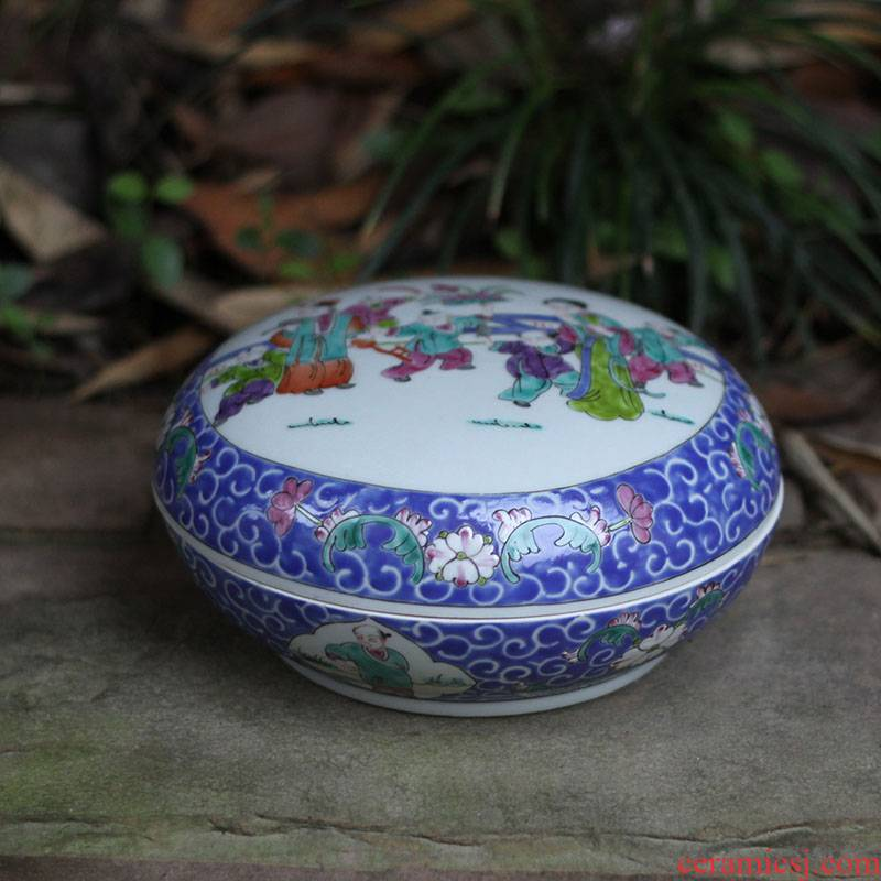 Jingdezhen shadow blue porcelain enamel inkpad box culture box of hand - made of blue and white porcelain porcelain rouge box
