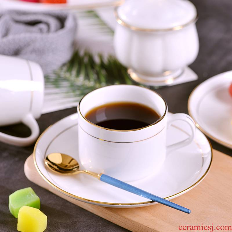 Household manual gold 】 【 jingdezhen ceramic cup coffee milk cup Europe type ipads China coffee cups and saucers suit