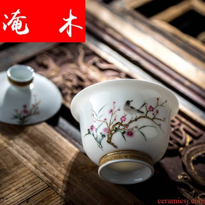 Submerged wood hand - made flowers and birds tureen gold tea powder enamel kung fu bowl is pure manual three colored enamel jingdezhen to bowl