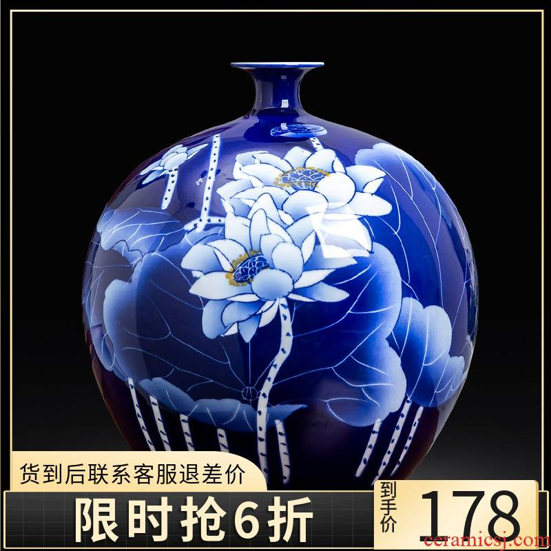 Jingdezhen blue and white porcelain vase hand - made ceramics lotus flower arrangement sitting room adornment of Chinese style household act the role ofing is tasted furnishing articles