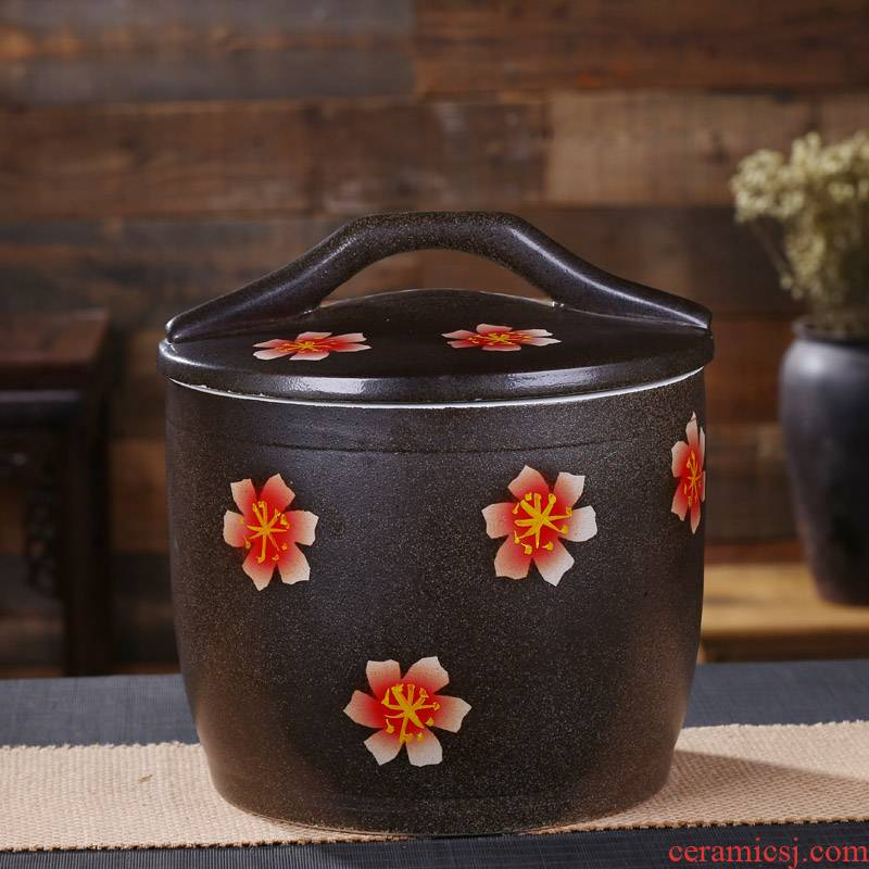 Jingdezhen ceramic barrel ricer box with a lid archaize of household barrel storage tank tea cake cylinder 20 jins 30 jins 50 pounds