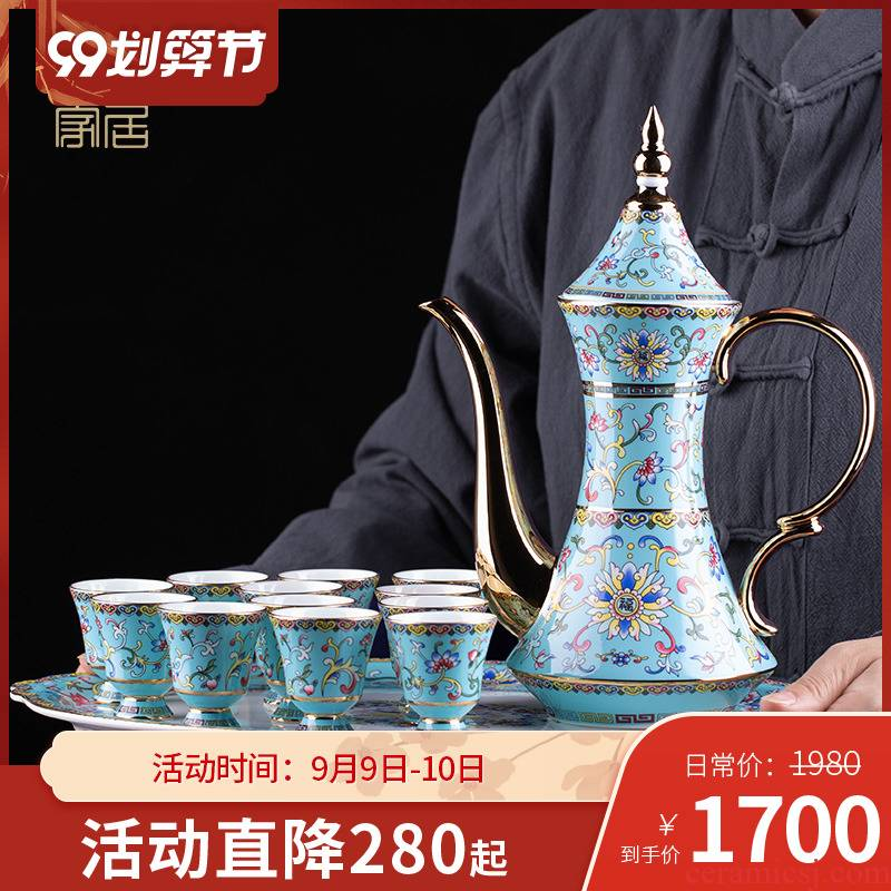 Jingdezhen colored enamel household of Chinese style of high - grade ceramic wine bottle wine suits for liquor liquor cup small a small handleless wine cup, gifts