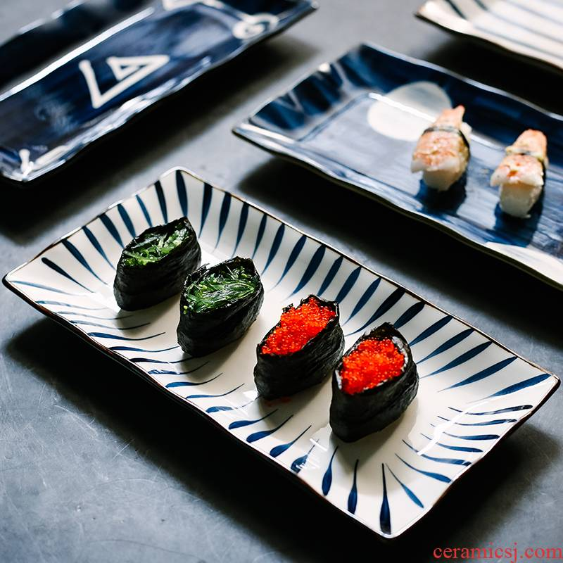 Japanese style restoring ancient ways hand - made ceramic sushi plate rectangular plate, tray was dessert dish dish dessert dish fish dish