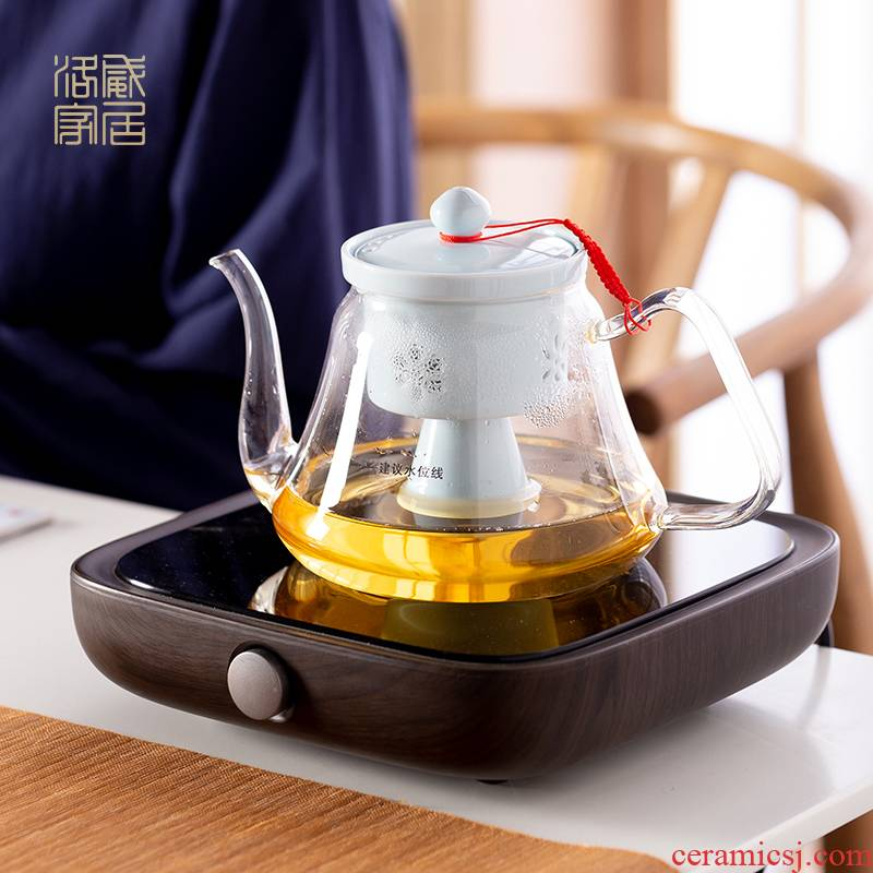 Glass teapot household thickening filtration jingdezhen electric TaoLu boiled tea set high temperature resistant single pot, kettle