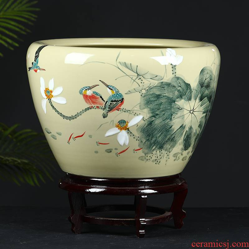 Jingdezhen ceramic tank sitting room fountain circulation water tank large household furnishing articles aquarium fish bowl