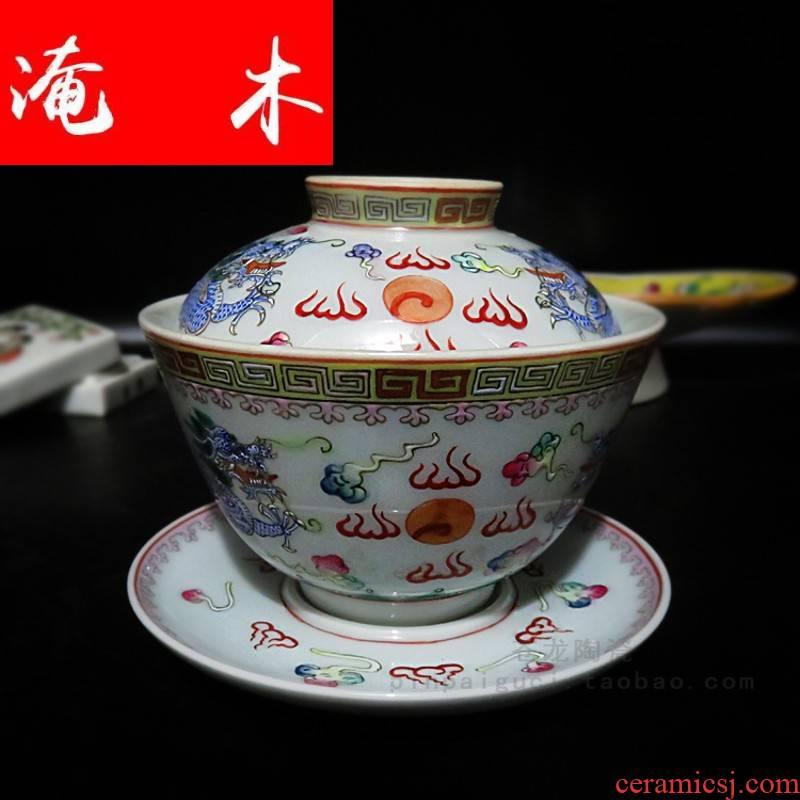 Submerged wood powder enamel manual hand blue ssangyong 's three big tureen jingdezhen ceramics to tureen bowl tea cups