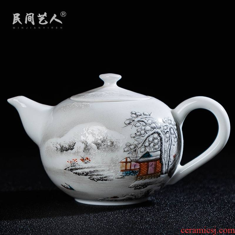 Hand draw pastel wonderland scenery teapot single pot of jingdezhen ceramic kung fu xi shi pot teapot tea teapot