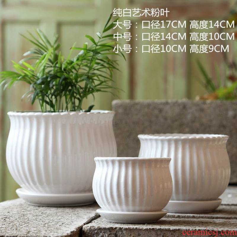 Flower pot home 3 times and medium blue and white mini type 3 with chassis ceramic Flower pot of dill round his balcony