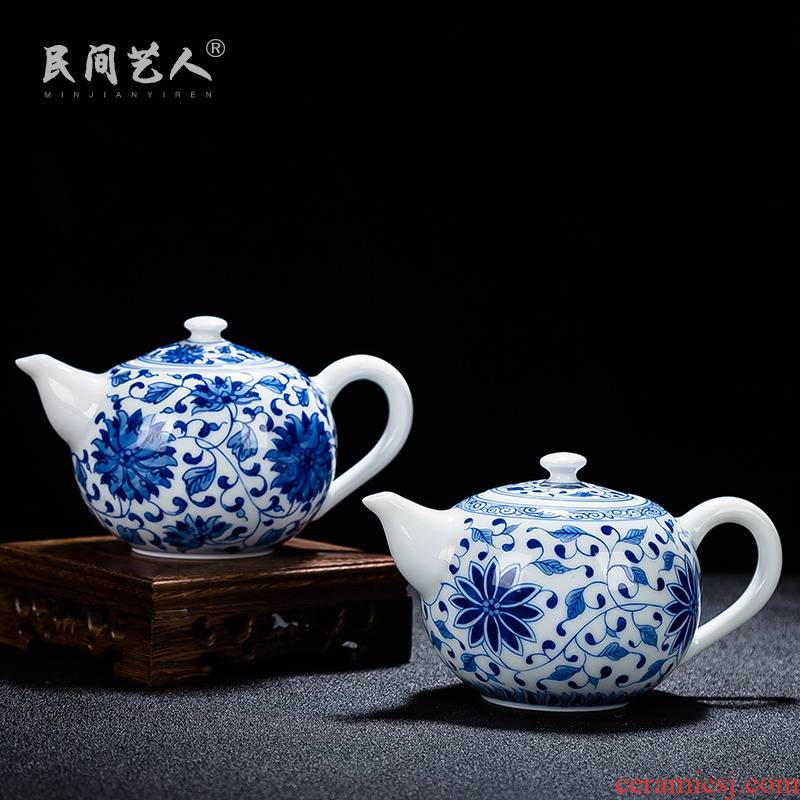 Ceramic teapot kung fu tea teapot contracted small capacity under the jingdezhen blue and white porcelain thin foetus enamel colors