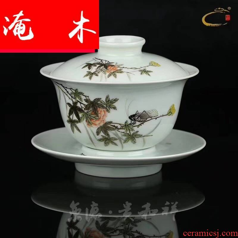 Submerged wood powder enamel hand - made teacup cover three to make tea cup of jingdezhen tea service master checking ceramic lid