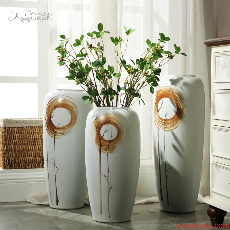 Jingdezhen modern ceramics of large vases, flower arranging furnishing articles creative household adornment contracted sitting room TV cabinet