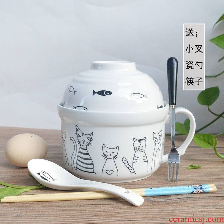 The hot style kitchen ceramic terms rainbow such to use Japanese large lovely cartoon cup noodles with cover tableware lunch boxes in The bowl