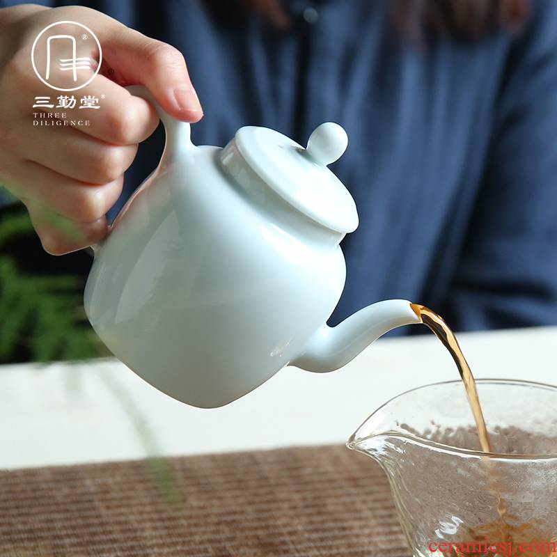 The three frequently small jingdezhen ceramic teapot kung fu tea tea S21002 manual single pot of big beauty pot