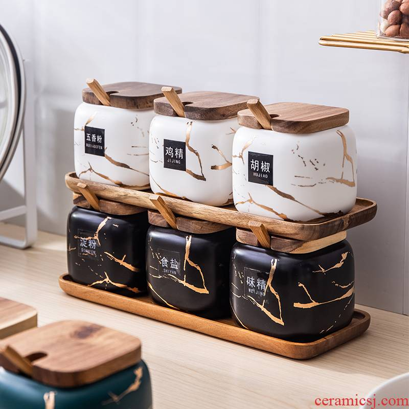 Nordic ins spice jar with cover of the new Chinese style household marble Jin Wen ceramic salt sugar taste pot three - piece suit
