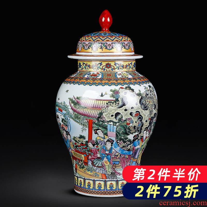 Archaize of jingdezhen ceramics powder enamel twelve gold hair pin the general pot of large storage tank household act the role ofing is tasted furnishing articles sitting room
