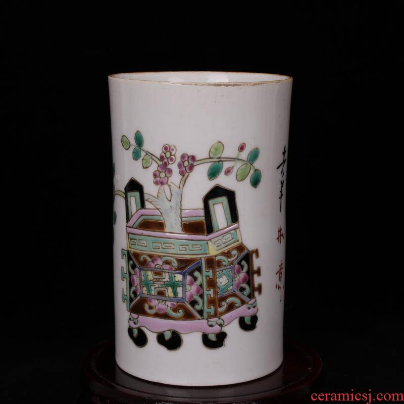 Jingdezhen antique reproduction antique hand - made all four desk antique old ceramic powder wariety pen container office furnishing articles