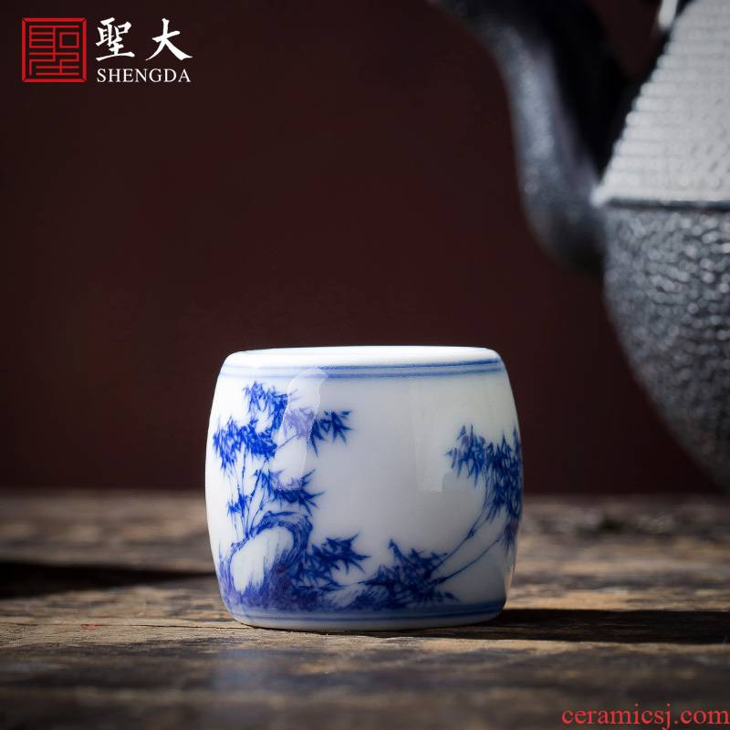 Holy big buy blue and white bamboo stone GaiWanCha hand - made ceramic cover lid all hand jingdezhen kung fu tea accessories