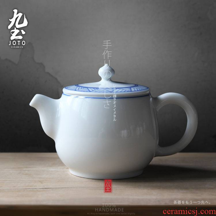 About Nine soil imitation Ming blue and white pot of hand - made of fine water lines teapot Japanese kung fu tea set of jingdezhen ceramics single pot of gifts