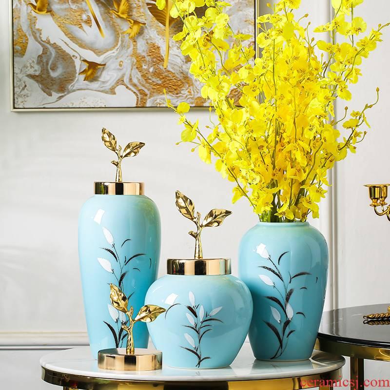 Jingdezhen ceramics vase furnishing articles simulation flower flower modern new Chinese style household living room TV cabinet decoration