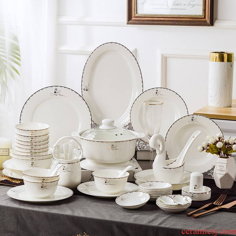North European contracted dishes suit household light the key-2 luxury of jingdezhen ceramics dishes combine up phnom penh ipads porcelain tableware