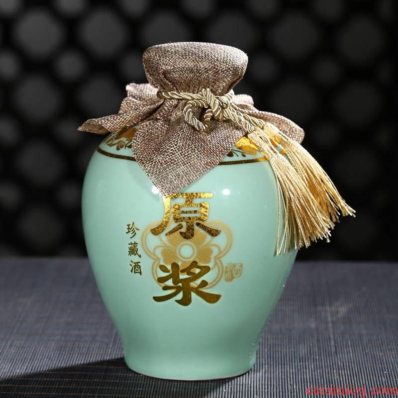 Jingdezhen ceramic bottle 1 catty 2 jins of 3 kg 5 jins of 10 jins jars sealed tank storage bottles of wine bottle is empty