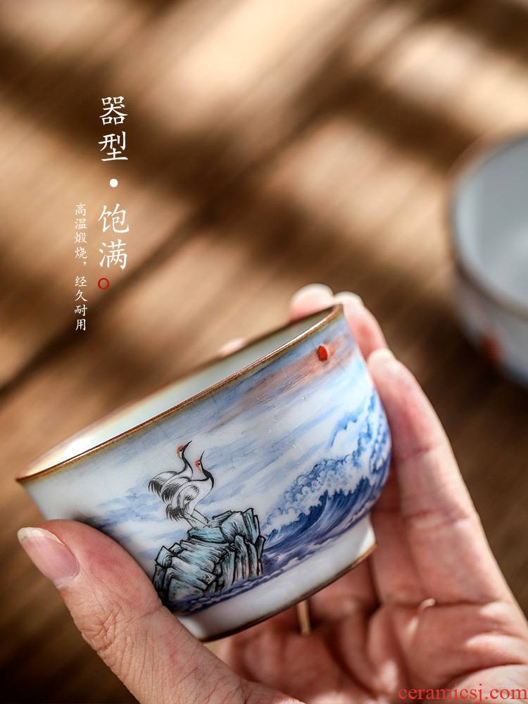 Jingdezhen ceramic your up sample tea cup master cup single CPU hand - made teacup pure manual cranes for a cup of kung fu tea set