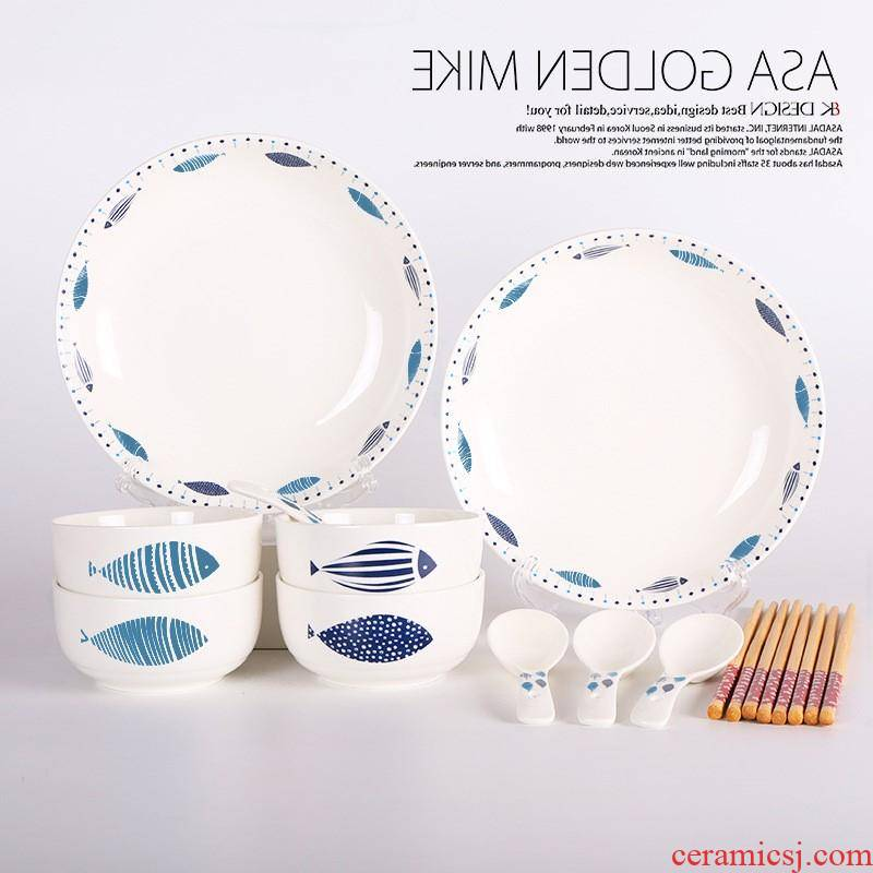 The kitchen eating food suits for, Korean spoon bowl soup plate combination of household ceramics tableware customized gifts every year
