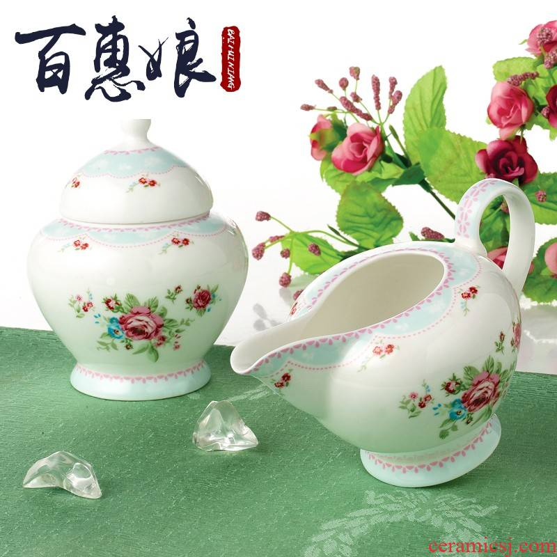 (niang European character made ceramic coffee milk sugar cylinder suit with cover creative coffee cup keller cup