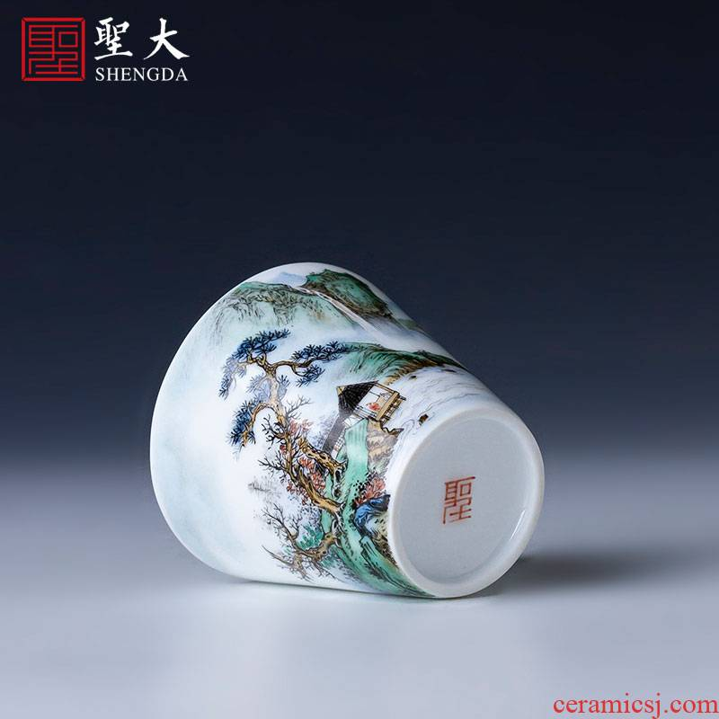 St the ceramic kung fu tea master cup pure hand draw pastel pine lushan mountain water sample tea cup jingdezhen tea by hand