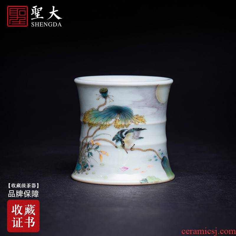 The big ceramic cover set The lotus pond, hand - made pastel kingfisher bamboo cover all hand jingdezhen kung fu tea accessories