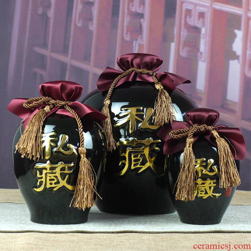 1 catty 2 jins of three jin of jingdezhen ceramic bottle, black glaze 5 jins of 10 jins jars seal hip storage bottle of wine