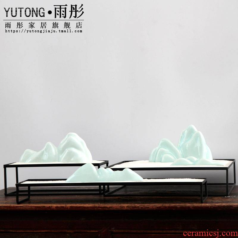 Zen mountain heavy creative dry landscape ceramic bijia furnishing articles hotel teahouse move of Chinese style household decoration
