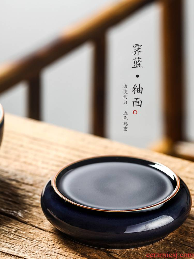 It cover rear cover of jingdezhen ceramic ji blue glaze pure manual cup mat tea saucer kung fu tea accessories