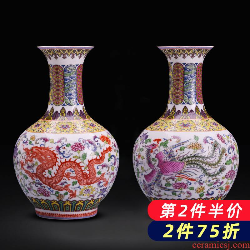 Jingdezhen ceramics flower arranging longfeng vase furnishing articles new sitting room of TV ark, rich ancient frame of Chinese style household ornaments