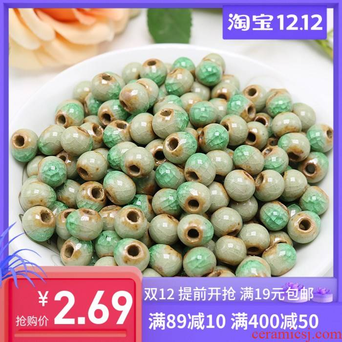 Jingdezhen 10 mm ice to crack the green clay beads of national wind restoring ancient ways beads accessories diy ceramic beads