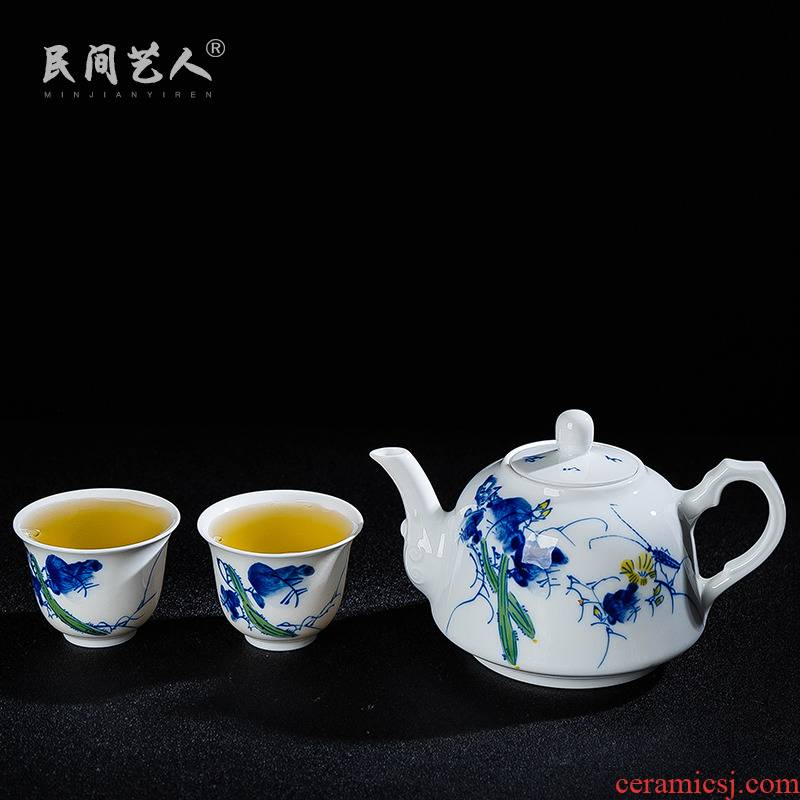 Jingdezhen ceramic teapot teacup set luffa a pot of two cups of kung fu tea set tea sample tea cup