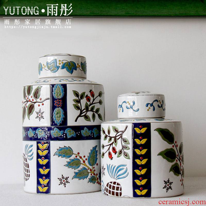 Jingdezhen ceramic household act the role ofing is tasted furnishing articles colorful European - style ceramic vase round pot storage tank decoration
