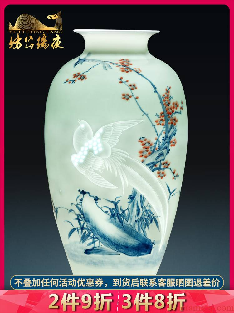 Jingdezhen ceramics hand - made of blue and white porcelain vases, flower arrangement sitting room place, TV ark, of Chinese style household ornaments