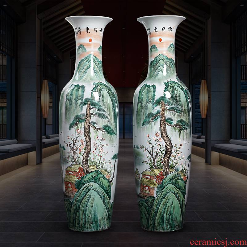 Jingdezhen ceramics hand - made oversized ground vase furnishing articles home gifts sitting room hotel adornment