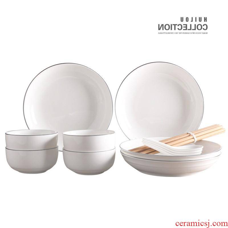 The creative ceramic tableware kitchen household jobs soup plate spoon hotel bowl dish dish gift set custom manufacturers